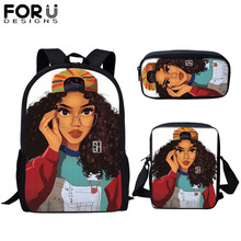 FORUDESIGNS 3 SET Children Cartoon School Bag African American Black Art Print Kid Primary Schoolbag Bagpack for Girls Mujer