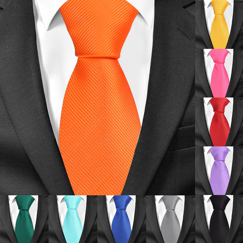 New Classic Solid Ties For Men Fashion Casual Neck Tie Gravatas Business Mens Neckties Corbatas 8cm Width Groom Ties For Party