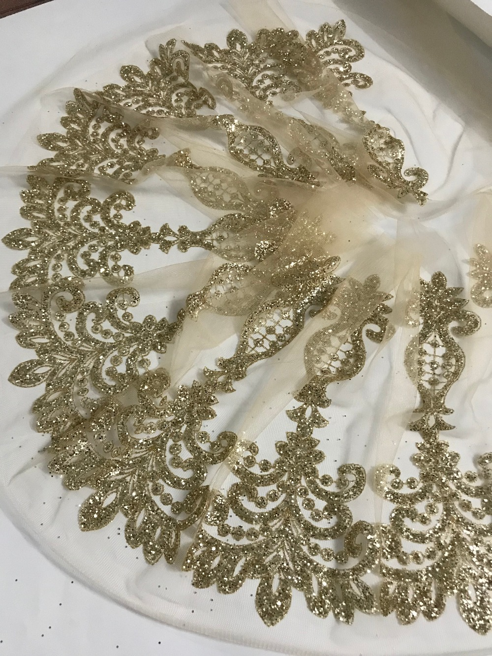 JIANXI C 91611 new 10 yards lot gold glued glitter lace trim tulle lace for fahion
