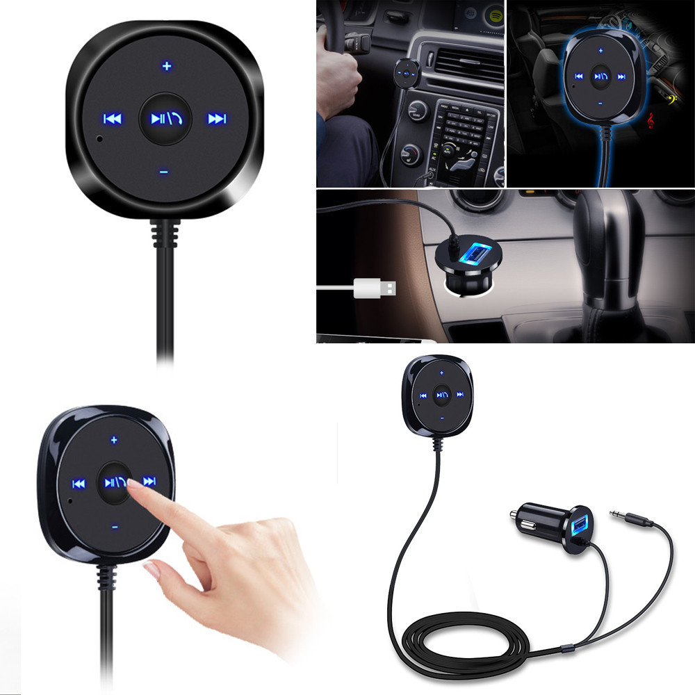 Bluetooth 3.0 Wireless Music Receiver 3.5mm Adapter Handsfree Car AUX Speaker USB Charge #@30 usb