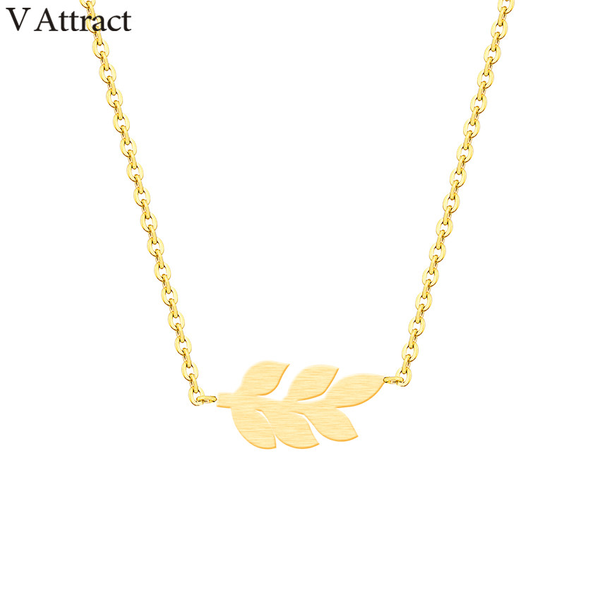 V Attract Handmade <font><b>BFF</b></font> Jewelry Stainless Steel <font><b>Ketting</b></font> Boho Leaf Necklaces & Pendants For Women Rose Gold Lady Collares Chocker image