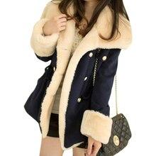 Корейское зимнее пальто для женщин, тонкий двубортный кардиган, куртка в духе колледжа, шерстяные пальто, плотная одежда, Vestidos LBD6941