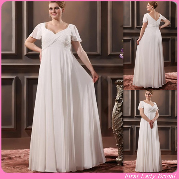 58d3f8ccee71f Simple Short Sleeves Plus Size Wedding Dresses V-neck Empire White Chiffon  Long 2015 Bridal Gowns UK Cheap