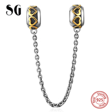 SG 925 Sterling Silver Love Connection Safety Chain Charm beads Fit pandora Bracelet Heart Shaped Jewelry