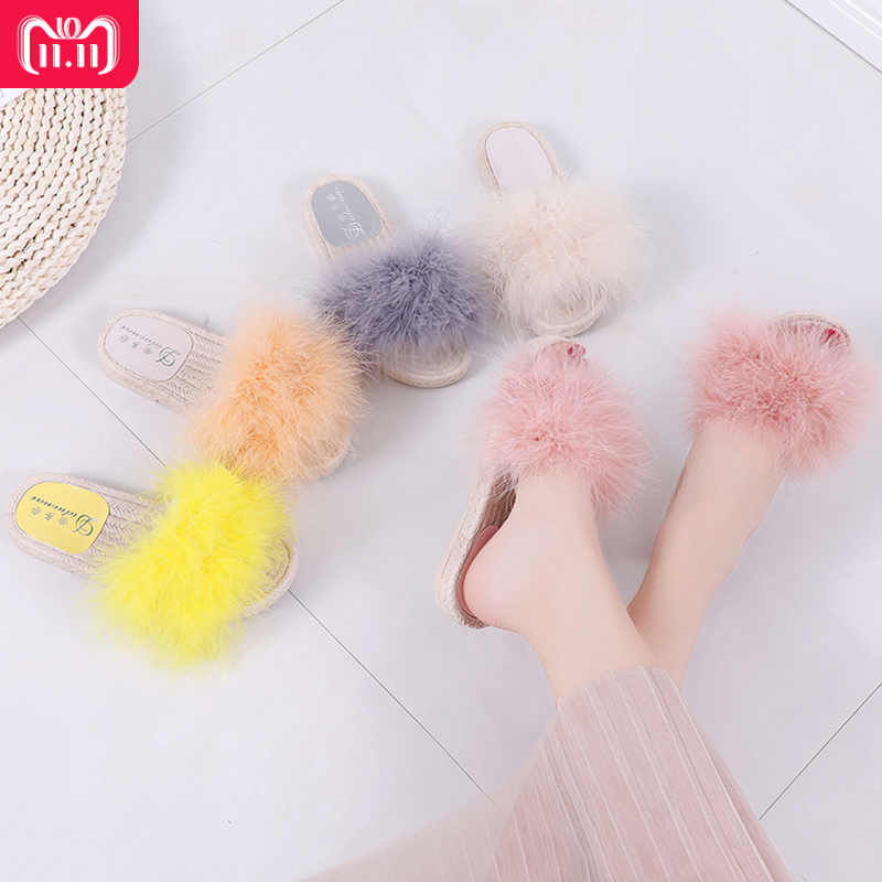 RUIYEE Ms. ostrich hair slippers sweet feather flat shoes women's shoes rubber shoes ladies home slippers 2018 new year real hai ruiyee hairy slide slipper sweet feather flat beach women sandals slippers ms home slippers outdoor shoes 2018 new year
