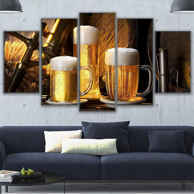 Poster Abstract Canvas Painting Modern Printing Type HD Print 5 Panel Beer  Wall Art Pictures Modular