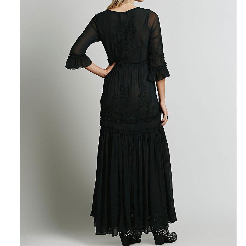 Luckeytimes Bohemia Vezenje Bijela haljina Žene Crne ogrlice - Ženska odjeća - Foto 4