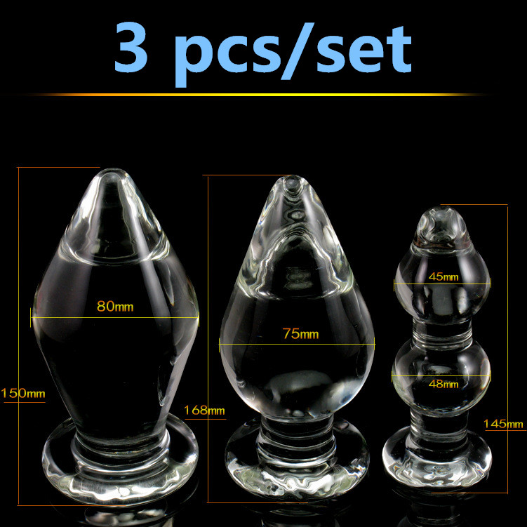 3 in1/set big glass butt plug huge anal plug,anal gay sex toys for men woman glass dildo sex products anal beads buttplug huge crystal glass dildos anal beads butt plug with 5 beads anal toys for women men super large anal sex toys adult sex products