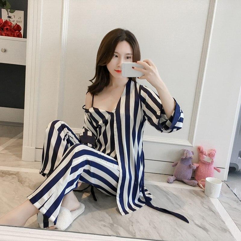 Sexy 3 Pcs Robe Pajamas Pants Sets Spring Women Silk Striped Ladies Sleep Lounge Night Shirt Long Pants Sets