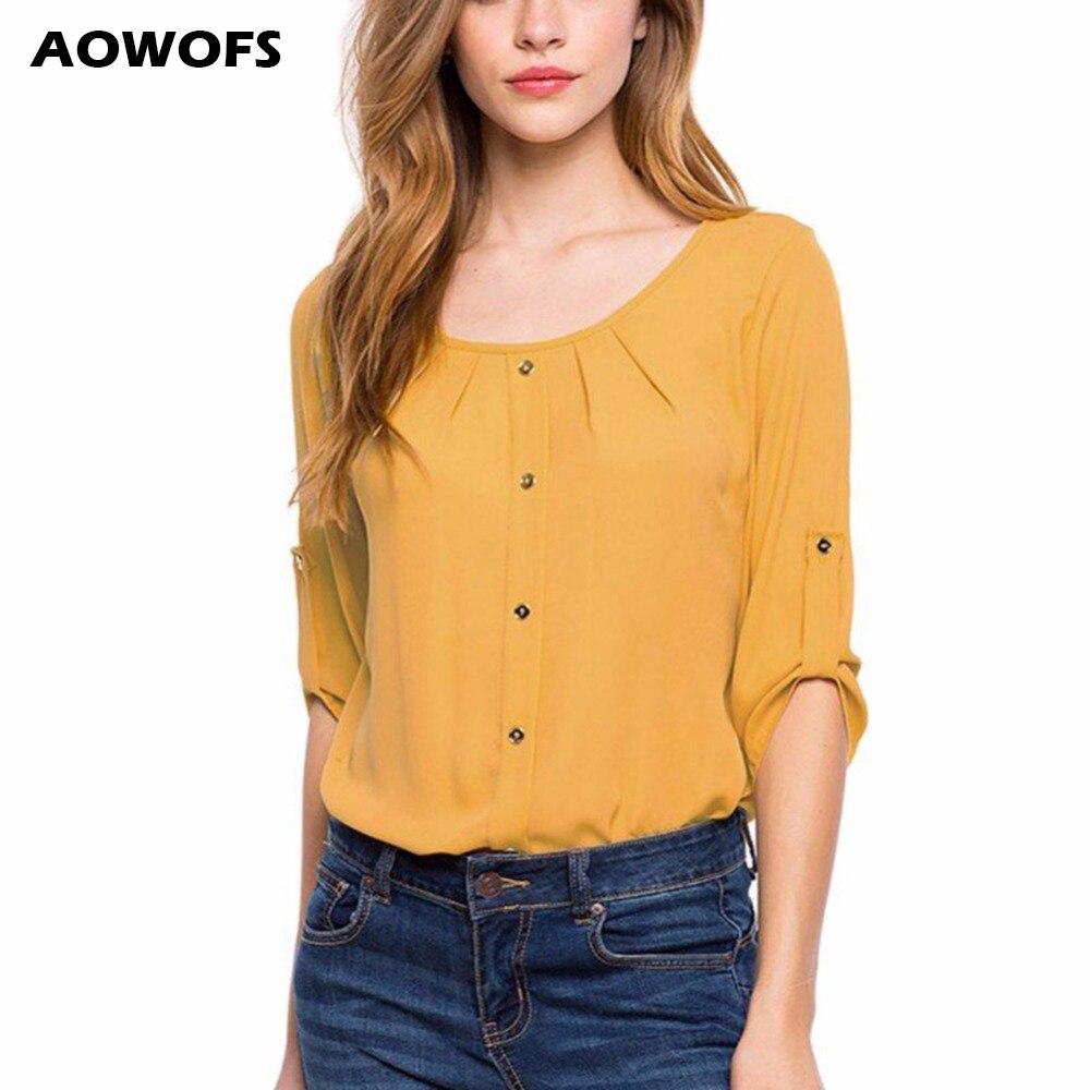 Hot Women's Fashion   Blouses   2018 Yellow Top   Blouse     Shirt   Women Red Chiffon   Blouses   For Women Green Three Quarter Chiffon   Blouse