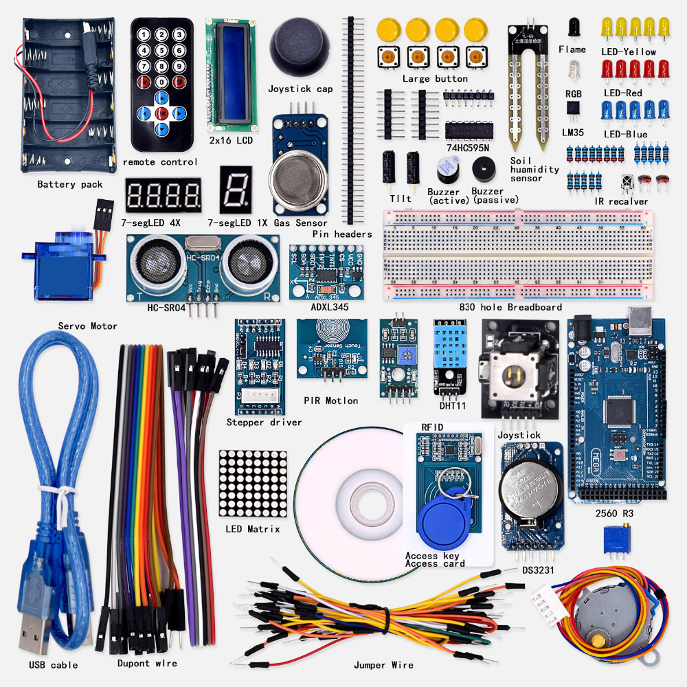 New arrival WeiKedz Super Starter Learning kit(UNO R3) for arduino with 1602 LCD RFID цены онлайн