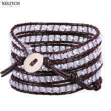 KELITCH Jewelry Cheapest 5 Wrap Crystal Beaded Bracelet with Black Leather Chain Summer Beach Charm Bracelets with Pouch Package