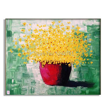 Hand Painted yellow flowers abstract Oil painting contemporary palette knife floral impasto painting
