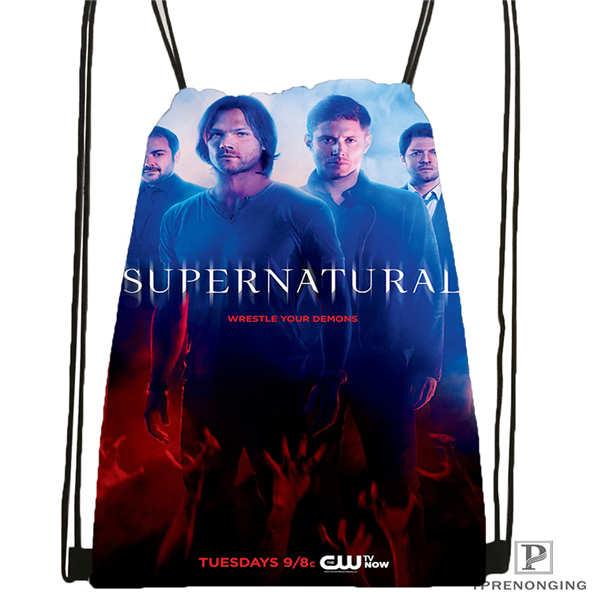 Custom Supernatural_Season  Drawstring Backpack Bag Cute Daypack Kids Satchel (Black Back) 31x40cm#2018611-2(12)