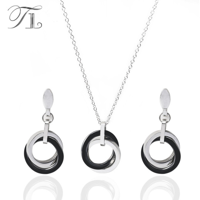TL Новый Серебряный керамический комплект ювелирных изделий для женщин  черный и белый двойной круг стереоскопический нежный 4128efb7ee3