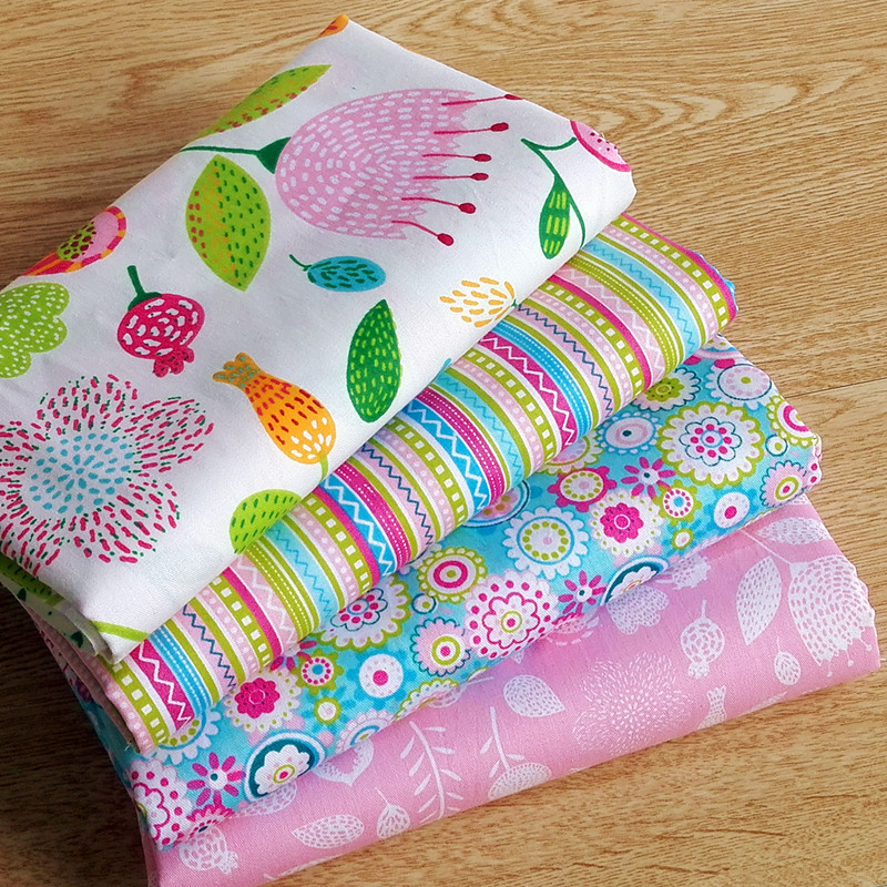 4 pcs 40cm 50cm sweet pink printed cotton fabric telas for Telas para manteles precios