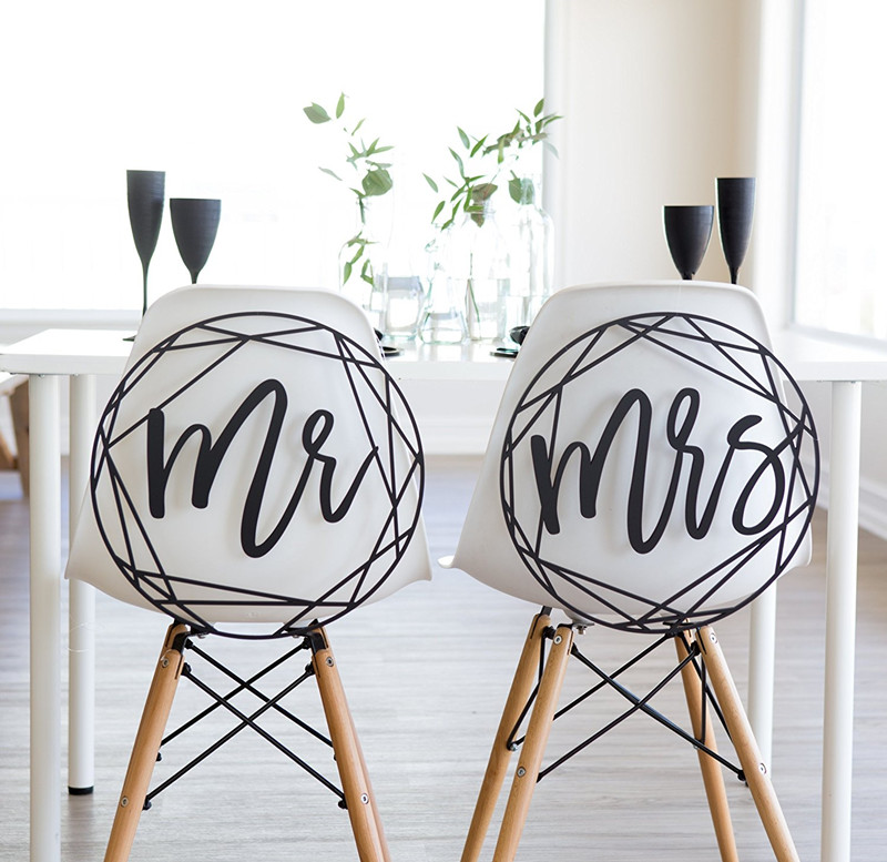 Modern Wedding Chair Signs Geometric Style for Bride and Groom Wedding Chairs, Minimalist Calligraphy Hanging Signs Set