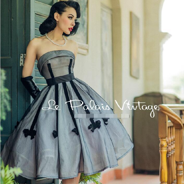 Vintage Elegance 1950 Classic Bow Bandeau Ball Gown Dress Silver Grey Fashion Temperament Hepburn Style