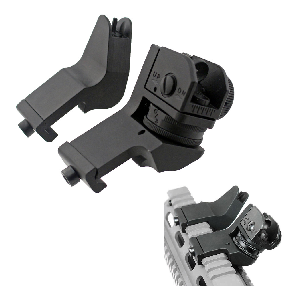Tactical 45 Degree Sight Flip Up Front Rear Rapid Transition Backup Iron Sight Set