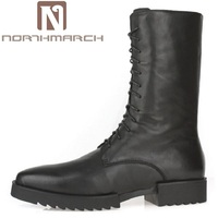 Northmarch осень зима Для мужчин панк мотоботы Кружево высокой верхней человек Сапоги и ботинки для девочек черный кожа коровы Военная Униформа