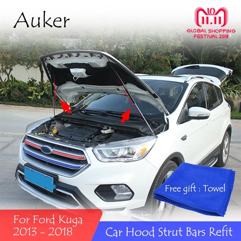 For 2013-2018 Ford Kuga Refit Car Front Hood Engine Cover Hydraulic Rod Strut Spring Shock Bar Car StylingFor 2013-2018 Ford Kuga Refit Car Front Hood Engine Cover Hydraulic Rod Strut Spring Shock Bar Car Styling