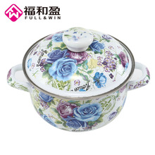 18cm Multi Purpose Soup Pot Enamel With Toughened Cover Kitchen For Gas And Induction Cooker