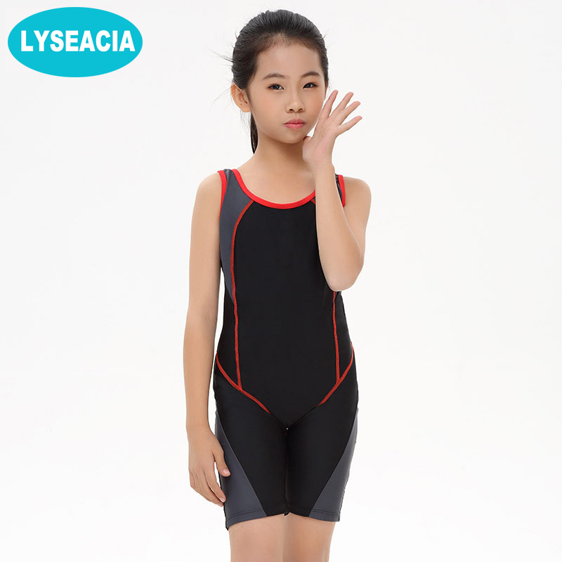 LYSEACIA Kids Swimming suit Children One Piece Swimwear long 2017 Slim Swimsuit for Girl Training Swim Wear Jumpsuit Beach Wear one piece swimsuit children s swimwear girl children baby swim wear kids cute swimsuits 2017 new buoyancy life biquini infantil
