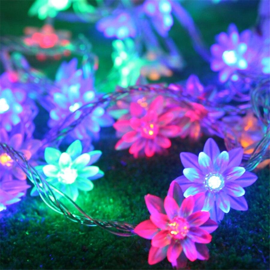 5 м 40 шт. цветы лотоса LED строка гирлянды свет Батарея Powered сказочных Рождество Строка для свадьбы для отдыха и вечеринок Сад