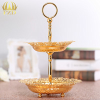 2 Layer Golden Plate Metal Fruit Serving Tray Cake Plate Dessert Cu Hollow Inlay For Wedding