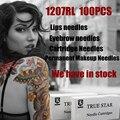 100PCS Premium Permanent Makeup Needles 7RL For Eyebrow Makeup Lip Needle 7RL For Nouveau Rotary Machine Pen Kits Free Shipping