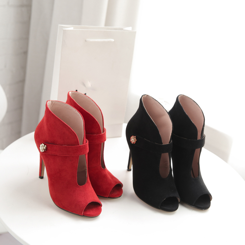 6f65fab3414 2018 summer new sexy high heels 11cm stilettos ankle boots red peep toe  fashion short boots small size 33 sandals