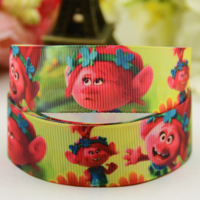 7 8 39 39 22mm Trolls Cartoon Character printed Grosgrain Ribbon party decoration satin ribbons OEM 10 Yards Mul040 in Ribbons from Home amp Garden