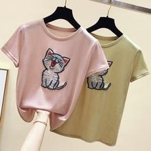 2019 Summer New Women T-shirt Korean Fashion Cartoon Kitten Embroidery Cute Female Tshirts Casual Short Sleeve O-Neck Loose Tops