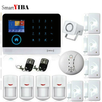 SmartYIBA 3G WIFI SMS Home Burglar Touch Screen Alarm Panel Home Security Alarm System Smoke Fire Sensor Detector APP Control
