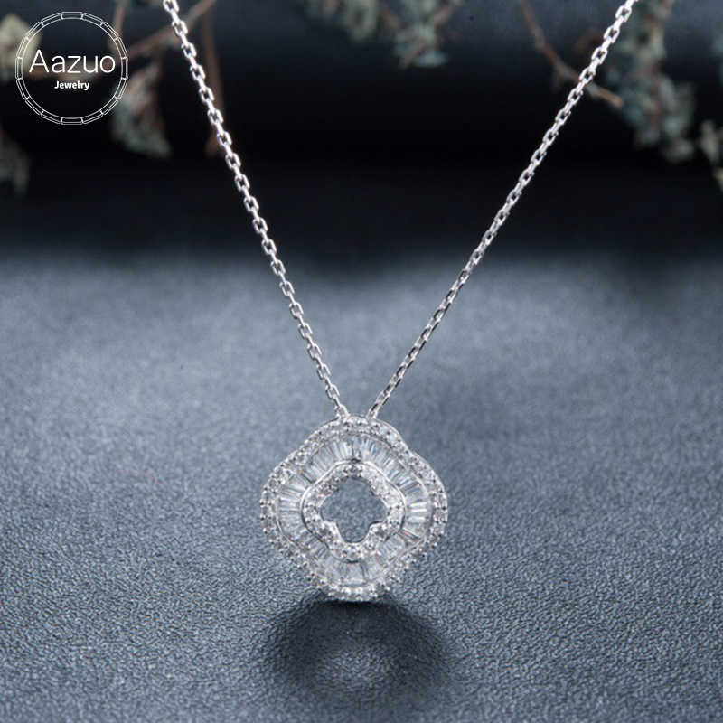 Aazuo 100% 18K White Gold Rose Gold Real Ladder Diamond Fashion Flower Clover Necklace gifted for Women 18 Inch Link Chain Au750