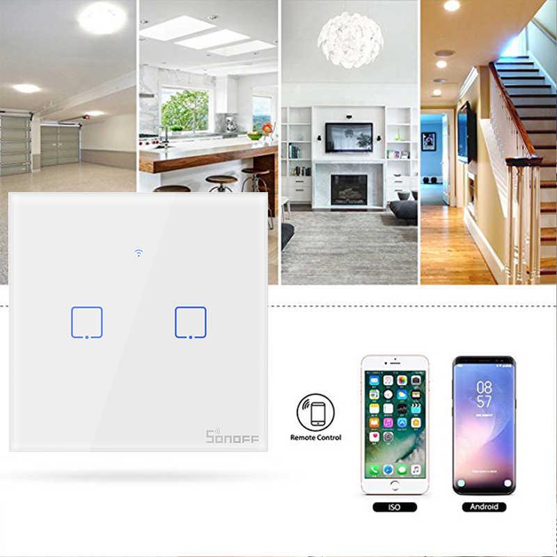 SONOFF T1 ue UK wtyczka 3 Gang/2 Gang/1 Gang TX WiFi przełącznik ściany szklany Panel bezprzewodowy pilot zdalnego sterowania światła LED dla inteligentnego domu