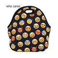 Who Cares Emoji Thermal Cooler Insulated Lunch Bags For Women 3D Print Lancheira Termica Neoprene Lunch Bag Bolsa Termica Sacola
