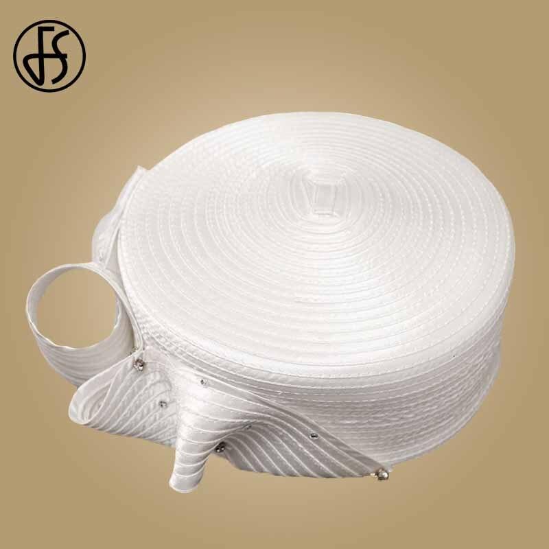 FS Vintage Fascinator blanco sombrero Fedora para mujer sombreros de fiesta de té de la Iglesia de la boda dama sombreros con diamante Kentucky Derby sombrero - 4