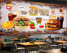 beibehang Custom size Hand painted classic brick wall paper delicious burger fast food restaurant tooling background wallpaper