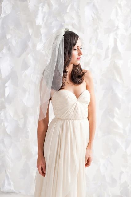 Cheap Wedding Bridal Veil Two Layer Crystal Beading Sequins Tulle Waist Length Bridal Veil Wedding Accessories 2015