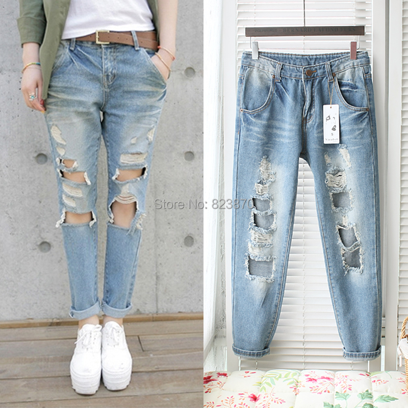 2f24b07e273 Free shipping 2014 new design big Hole denim jeans women fashion show sexy  leg jeans trousers high waist long pants with holes