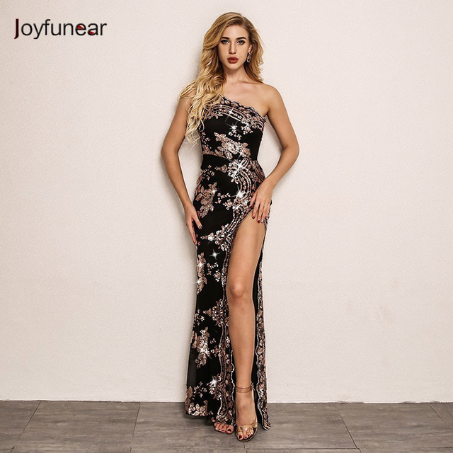 5a40265eab08 Joyfunear High Split Sexy Bodycon Sequin Dress Women Elegant Vestido 2018  New Autumn Amazing Print Maxi