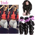 360 Lace Frontal Closure With 3 Bundles PrePlucked Lace Frontal Weave Loose Wave Curly Peruvian Virgin Hair With Frontal Closure