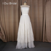 Vestido De Noivas A Line Lace Dot Tulle Wedding Dresses Romantic Illusion Neckline Custom Made Real