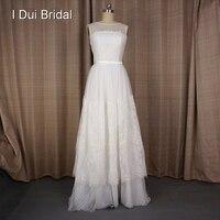 Vestido De Noivas A Line Lace Dot Tulle Wedding Dresses Romantic Illusion Neckline Custom Made Real