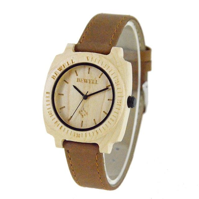 BEWELL Wood Watch Women Watches 2016 Top Brand Wristwatch Watchband-leather Woman Quartz  Relogio Feminino with Paper Box 098B
