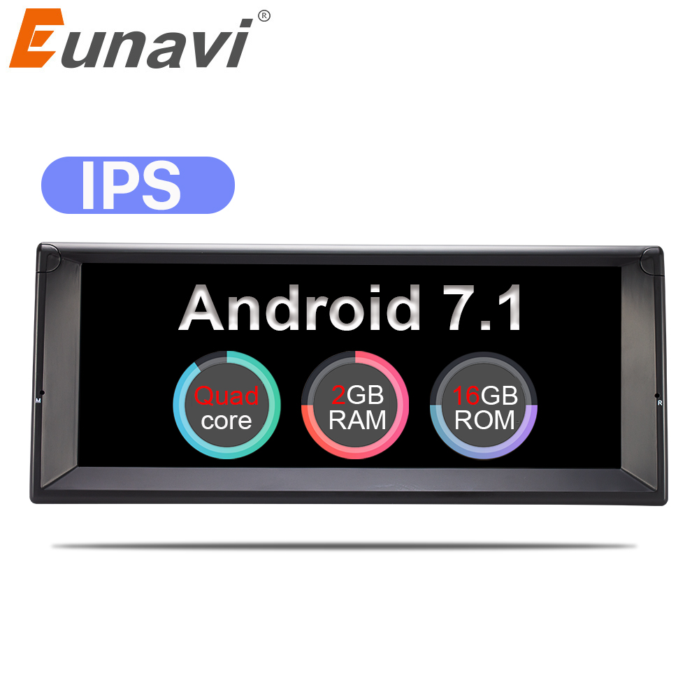 Eunavi 10.2'' 1 Din Quad core Android 7.1 Car Radio GPS Stereo System For BMW/E39/X5/E53 Multimedia player IPS Touch Screen цена 2017
