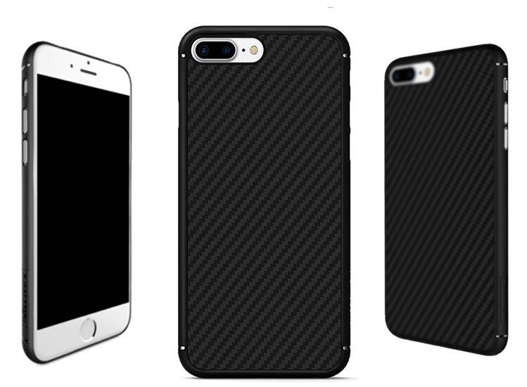 Цена за Nillkin Синтетического Волокна Телефон Трудный Случай Углеродного Волокна PP Пластика Задняя крышка Ультра-тонкий Корпус Adorption Для Apple iphone 7/7 плюс