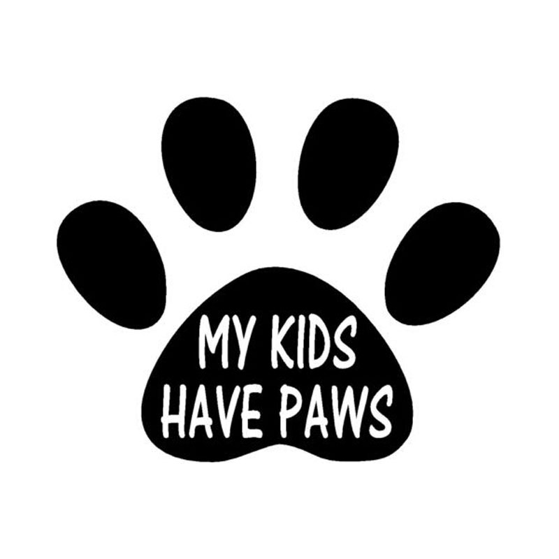 14.3CM*11.6CM Creative Animal Dog MY KIDS HAVE PAWS Car Styling Vinyl Sticker C5-0318