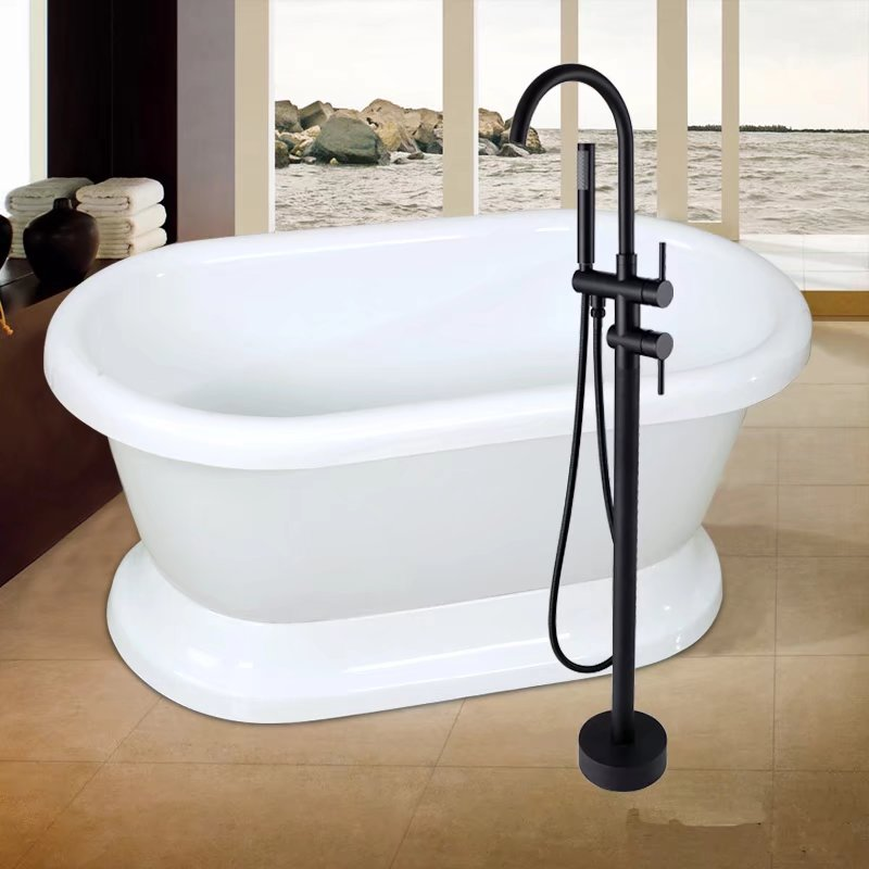 Matte Black High Rise Round Freestanding Spout Shower Faucet Bath ...